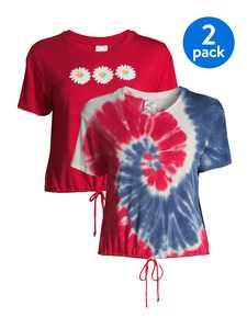 No Boundaries Juniors Tie-Front T-Shirt, 2-Pack