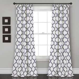 "Lush Decor Bellagio Room Darkening 95"" x 52"" Geometric Navy 100% Polyester 3"" Rod Pocket Pair Window Panel"