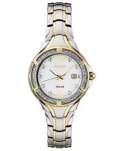 Women's Solar Diamond Collection Diamond-Accent Two-Tone Stainless Steel Bracelet Watch 29mm
