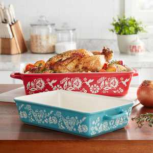 The Pioneer Woman Mazie 2-Piece Ceramic Red Rectangle Baker Set