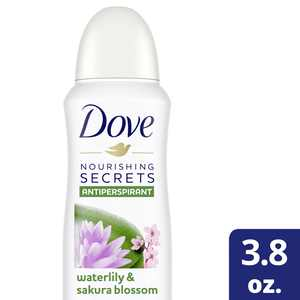 Dove Nourishing Secrets Dry Spray Antiperspirant Deodorant Waterlily & Sakura Blossom, 3.8 Oz.