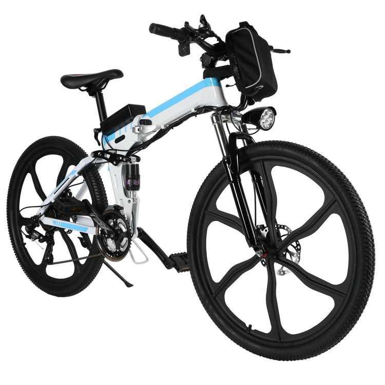 26''Folding Electric Bike 36V Eco Friendly Bicycle w/Aluminum Alloy Spokes Wheels HITC