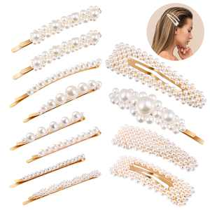 FRCOLOR 12PCS Pearl Hair Clips Hair Pins Hair Barrettes Snap Clips Wedding Bridal Hair Accessories for Birthday Valentines Day Gifts