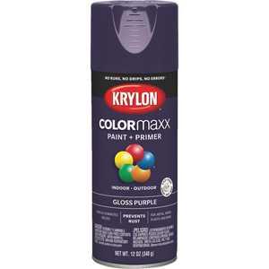 Krylon COLORmaxx K05533007 Spray Paint, Gloss, Purple, 12 oz Aerosol Can
