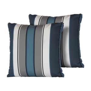 TK Classics Captains Blue Stripe 18 x 18 in. Outdoor Throw Pillow - Set of 2