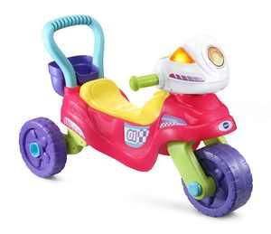 VTech 3-in-1 Step Up and Roll Motorbike, 3-Wheeler, 2-Wheeler, Walker, Pink