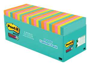 """Post-it Super Sticky Notes, 3"""" x 3"""", Miami Collection, 24 Pads"""