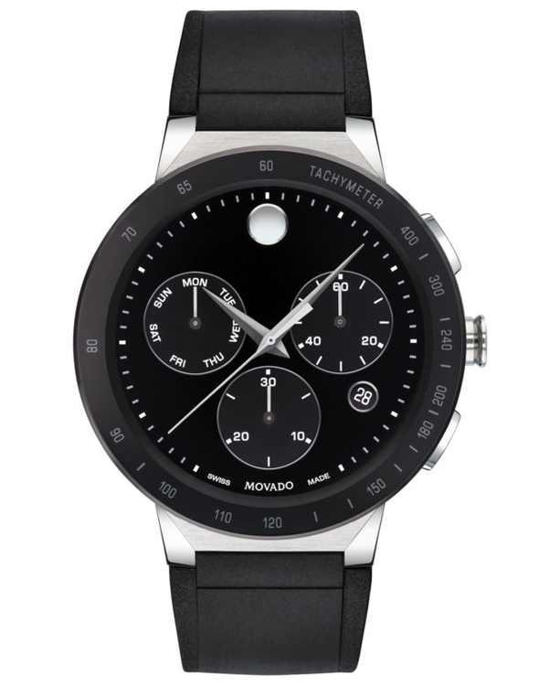 Mens Sapphire Chronograph Black Rubber Strap Watch 43mm