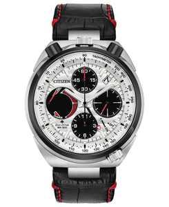 Eco-Drive Men's Chronograph Promaster Tsuno Racer Black Leather Strap Watch 45mm