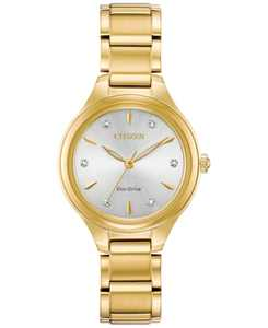 Eco-Drive Women's Corso Diamond-Accent Gold-Tone Stainless Steel Bracelet Watch 29mm