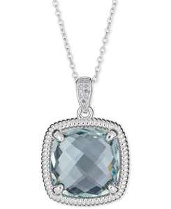 """Prasiolite (10 ct. t.w.) & Diamond Accent Necklace in Sterling Silver, 16"""" + 2"""" Extender (Also Available in Smoky Quartz & Blue Topaz)"""