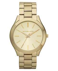 Unisex Slim Runway Gold-Tone Stainless Steel Bracelet Watch 42mm