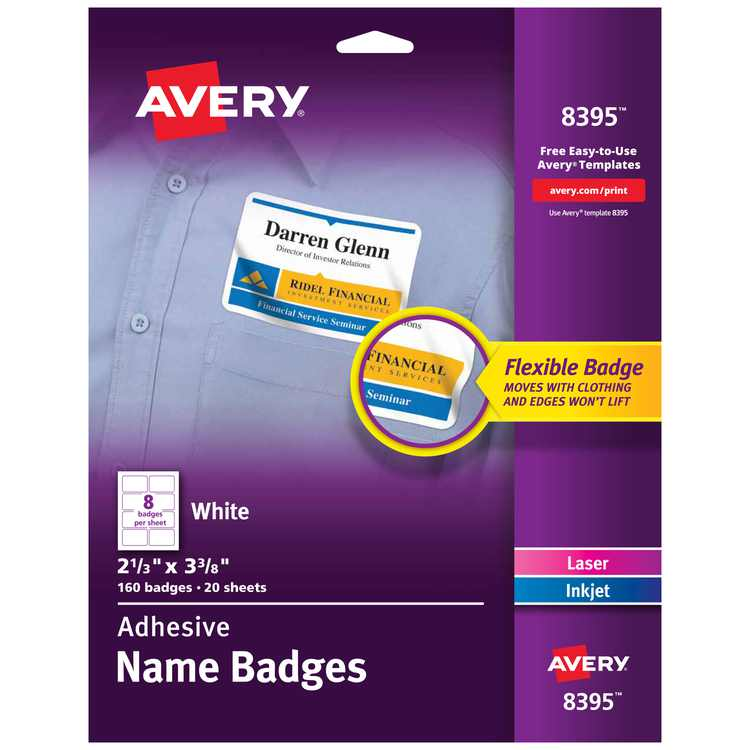 """Avery Flexible Name Tag Stickers, White Rectangle Labels, Removable Name Badges, 2-1/3"""" x 3-3/8"""", 160 Labels (8395)"""