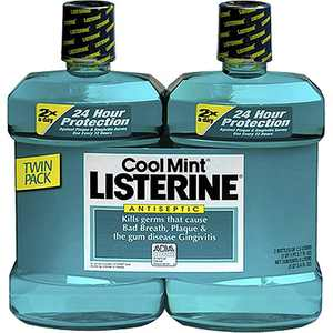 Cool Mint Antiseptic Mouthwash, 2 pk./1.5L - Oral Rinse & Mouthwash [Bulk Savings], Twin pack! 2 x 1.5 lt bottles By Product of Listerine
