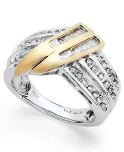 Sterling Silver and Diamond Twist Ring in 14k Gold (1/2 ct. t.w.)