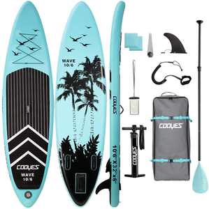 """Cooyes 10'6"""" Inflatable Stand Up Paddle Board SUP with Premium Backpack, Non-Slip Deck Wide Stance, Leash, Paddle, Hand Pump And Bottom Fin for Paddling"""