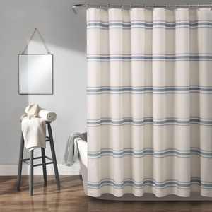 Lush Decor Farmhouse Stripe Cotton Shower Curtain, 72x72, Blue, Single