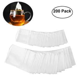 OUNONA 200pcs Drawstring Tea Bag Filter Paper Empty Tea Pouch Bags for Loose Leaf Tea Powder Herbs (White)