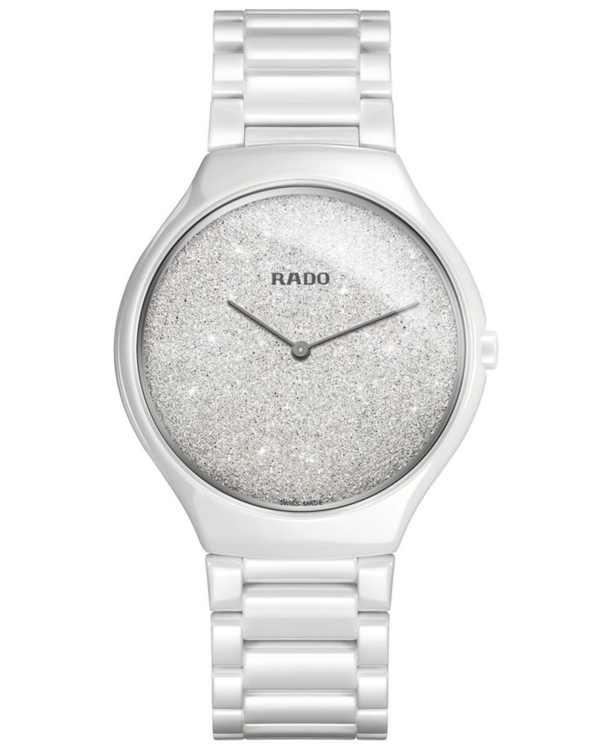Women's Swiss True Thinline White High-Tech Ceramic Bracelet Watch 39mm