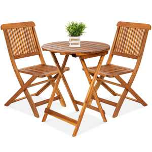 Best Choice Products 3-Piece Acacia Wood Bistro Set, Folding Patio Furniture w/ 2 Chairs, Table, Teak Finish - Natural