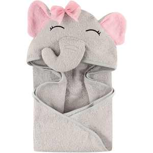 Hudson Baby Woven Terry Animal Hooded Towel, Pretty Elephant