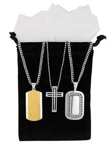 Men's Stainless Steel Two Tone Dog Tag and Pendant 3pc. Gift Set