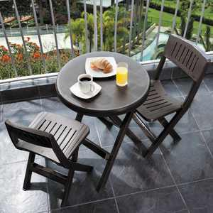 Rimax Polypropylene 3-piece, Table and 2 Chairs Bistro Set in Brown