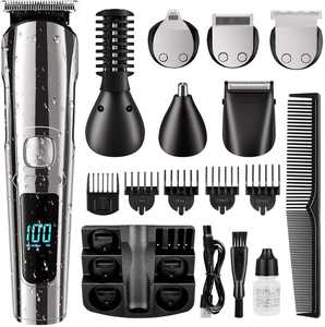 Hair Clipper for Men, 16 in 1 Grooming Kit IPX7 Waterproof, Cordless Electric Beard Trimmer, Body Mustache Nose Ear Facial Cutting Groomer for Wet/Dry w/ USB Rechargeable & LED Display & Storage Dock