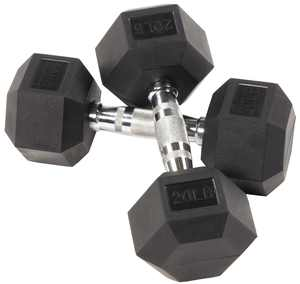 BalanceFrom Rubber Encased Hex Dumbbells, 20 lbs Pair
