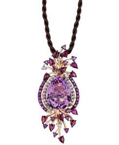 Crazy Collection Multi-Stone Cord Pendant Necklace in 14k Strawberry Rose Gold (18 ct. t.w.)