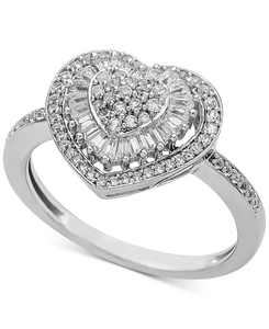 Diamond Heart Cluster Ring (1/2 ct. t.w.) in 14k White , Yellow or Rose Gold
