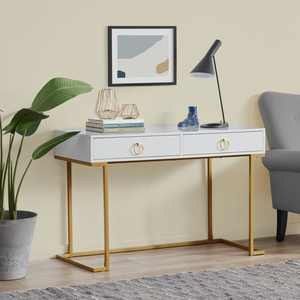 BELLEZE Home Office Two-Drawers Computer Desk Vanity Table, Wood And Metal, Gold And Black/Grey/White