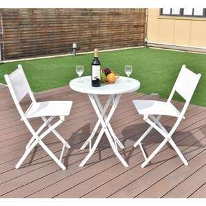 Costway 3-Piece Folding Bistro Table Chairs Set Garden Backyard Patio Furniture, White