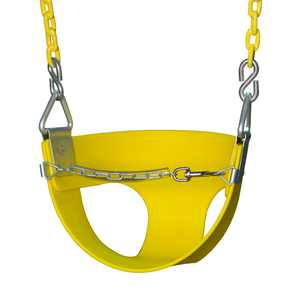 Gorilla Playsets Half Bucket Toddler Swing - Yellow with Yellow Chains