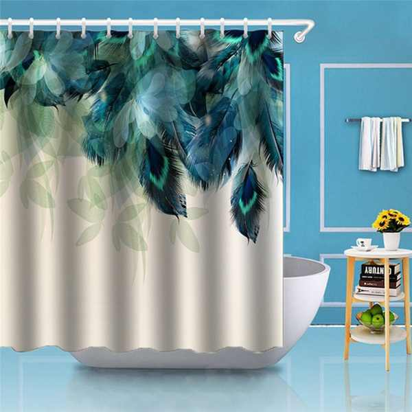 70.9x70.9 Inch Bathroom 3D Watercolor Decor Peacock Feather Printing Waterproof Shower Curtain