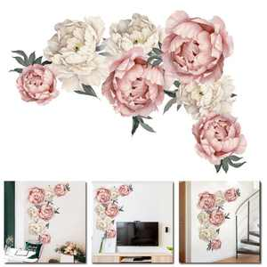 Peony Flower Wallpaper Decals Detachable Wall Stickers Home Decorations
