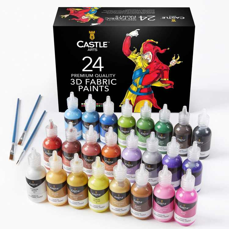 Castle Art Supplies 3D Fabric Paint Set - 24 Premium Vibrant Colors Perfect for Clothing, Canvas, Glass and Wood - Includes 3 Brushes - 29ml per Bottle, Non Toxic, Safe for Children