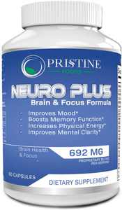Pristine Food's Neuro Plus Brain and Focus Supplement - Cognitive Enhancement Pills Boost Memory Concentrations - Natural Nootropic Anti Aging Formula for Mental Performance 60 Capsules