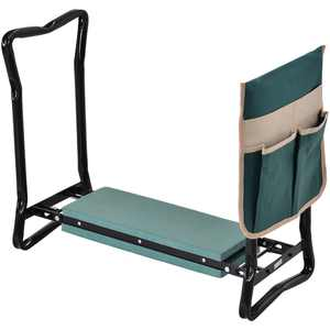 Outsunny Garden Kneeler Seat Stool Bench Kneeling Pad and 1 Large Side Tool Pouch & Easy Folding Design for Transport & Storage
