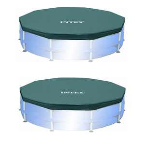 Intex 10ft Round Easy Set Outdoor Backyard Swimming Pool Cover, Blue (2 Pack)
