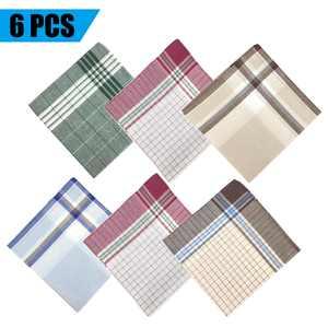 6PCS 100% Cotton Men's Handkerchiefs, Plaids Patterned Pattern Pocket Square Hankies, 6 Random Color Classic Vintage Soft Men Hankies, 15.8*15.8 inches, Nice gift for Gentlemen, Father, or Boyfriend