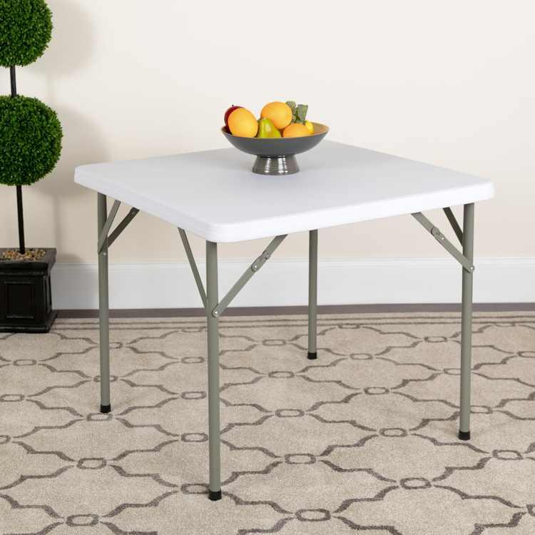 Flash Furniture 34'' Square Granite White Plastic Folding Table