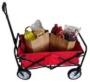 SECO Heavy Duty Folding Utility Wagon Wheelbarrow Garden Cart Sports Cart Shopping Buggy