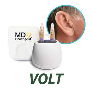 MDHearingAid VOLT - Rechargeable Hearing Aid with Noise Reduction - Enhances Speech - Nearly Invisible - Assists in Hearing (Both Ears)
