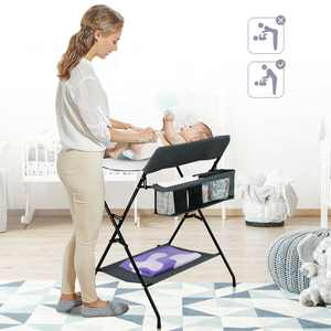 Costway Infant Baby Changing Table Folding Diaper Station Nursery Organizer w/ Storage