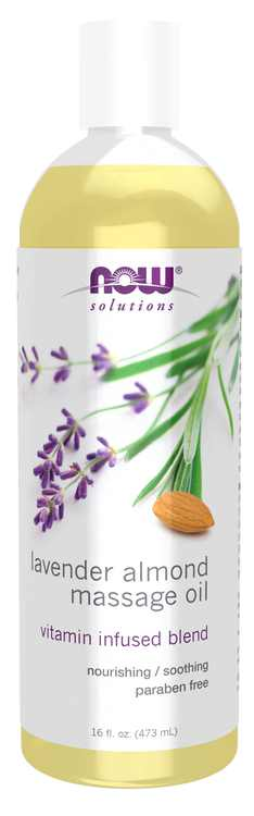NOW Solutions, Lavender Almond Massage Oil, Vitamin Infused Blend, Therapeutic and Soothing, 16-Ounce