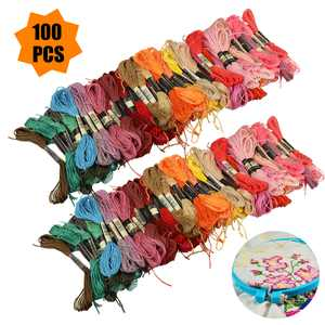 EEEkit 100 Skeins Rainbow Color Embroidery Floss - Cross Stitch Threads - Friendship Bracelets String Floss - Crafts Floss - Cross Stitch Floss - Random 100 colors/Each 8M
