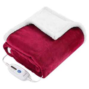 """MaxKare Electric Blanket Heated Throw Flannel & Sherpa Fast Heating Blanket 50"""" x 60"""", ETL Certification with 4 Heating Levels & 3 Hours Auto-off Timing Settings, Home Use & Machine Washable"""