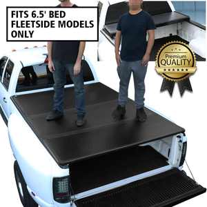 For 2014 to 2018 Chevy Silcerado / GMC Sierra 6.5Ft Short Bed Hard Solid Tri -Fold Clamp -On Tonneau Cover 17 16 15