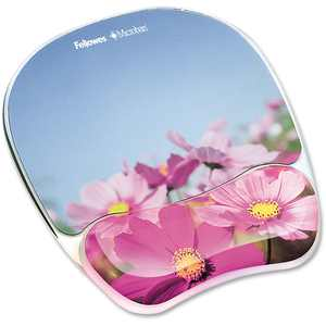 Fellowes Mfg. Co. Gel Mouse Pad W/wrist Rest, Photo, 9 1/4 X 7 1/3, Pink Flowers